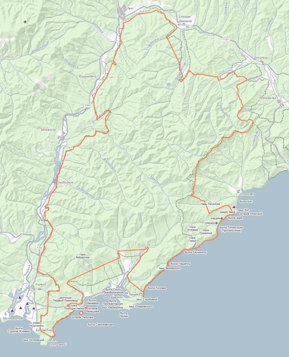 Карта Лазовского заповедника